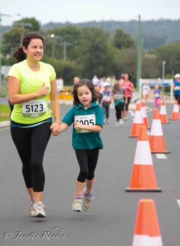 Mum and daughter running